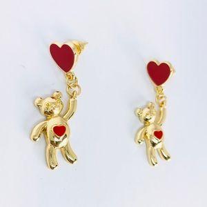 New! Valentine Bear Red Heart Dangle Earrings Gold